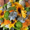 Bright colorful seasonal mix of fresh flowers, bouquet or bunch of flowers