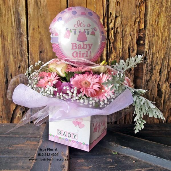 It's a Baby arrangement in a box with a foil balloon. Eros Florist