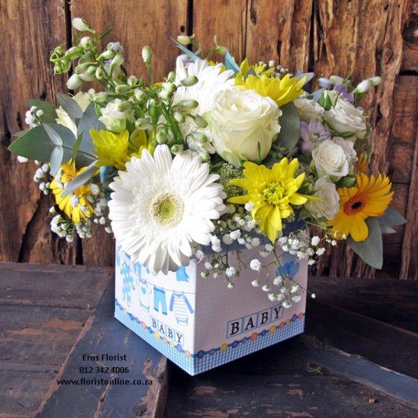 It's a Baby arrangement in a box. Eros Florist