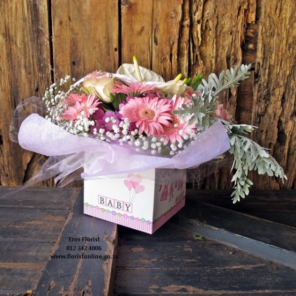 t's a Baby arrangement in a box. Eros Florist