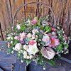 pink flower basket - Eros Florist